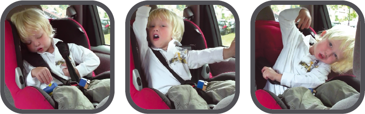 Children push their hands under the harness, rendering the car seat useless in the event of an accident